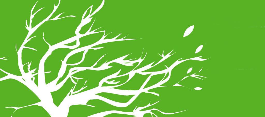 Albero stilizzato bianco su verde